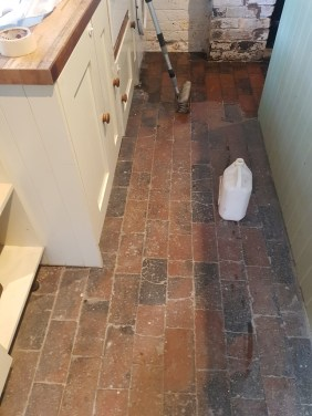 Brick Tiled Kitchen Floor Before Cleaning Church Minshull