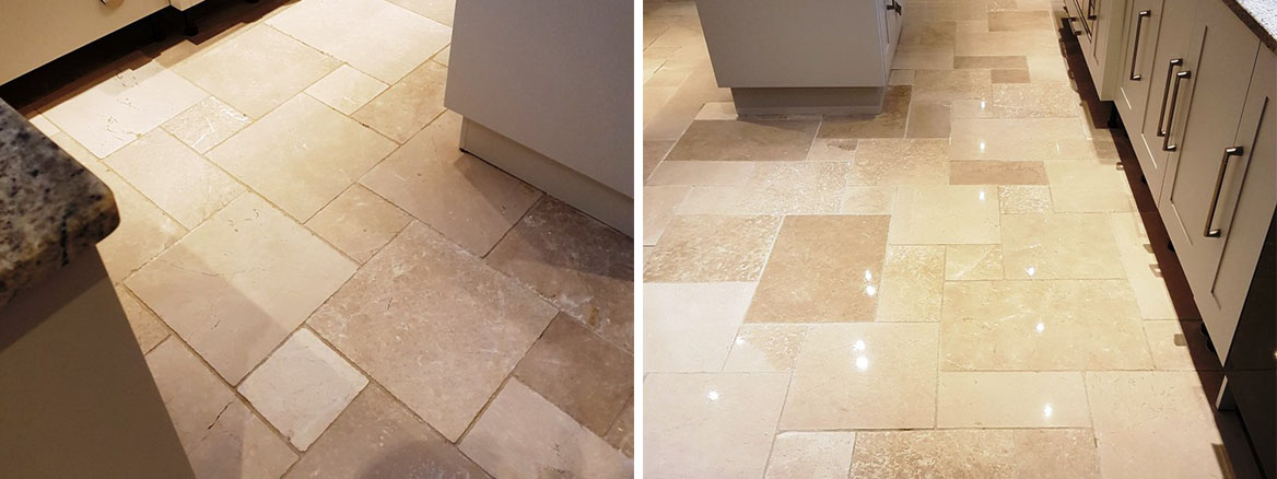 Limestone Kitchen Floor Tiled Before After Cleaning