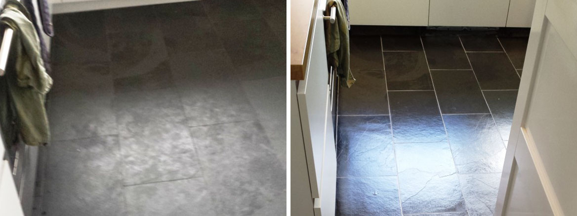 Slate Floor Before After Clean and seal grout recolour in Lymm Cheshire