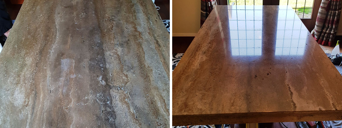 Travertine Tabletop Before After Polishing Heswall Wirral