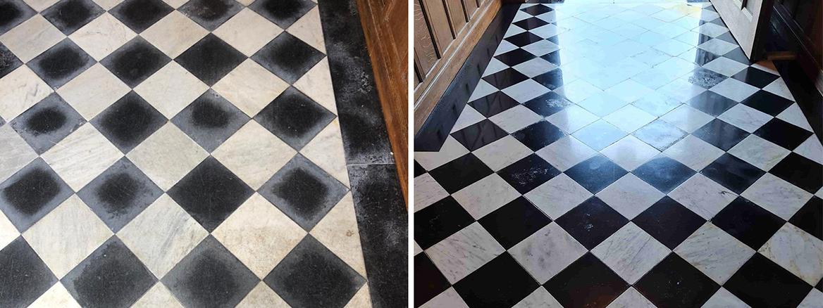 19th Century Marble Hallway Floor Renovated in Tattenhall