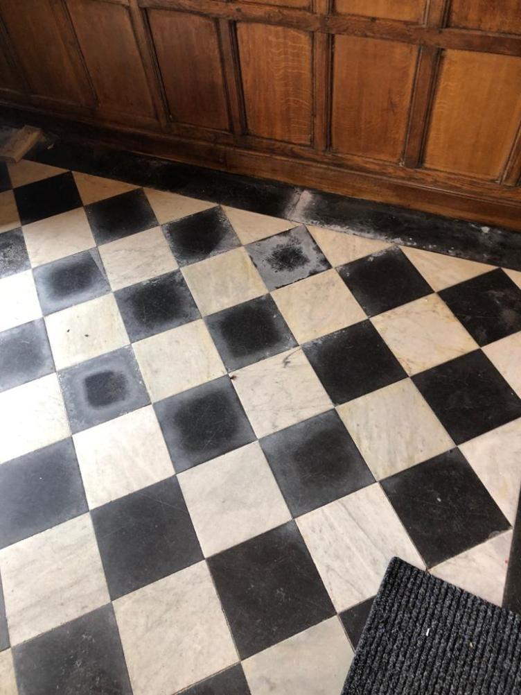 Marble Tiled Floor Before Renovation Grade II Listed Building Tattenhall