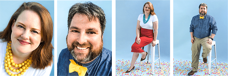 close up portraits of a woman and a man in bright clothing