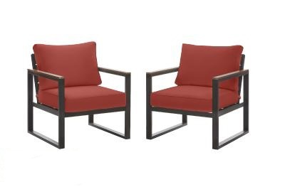 Modern Patio Chairs with Red Cushions