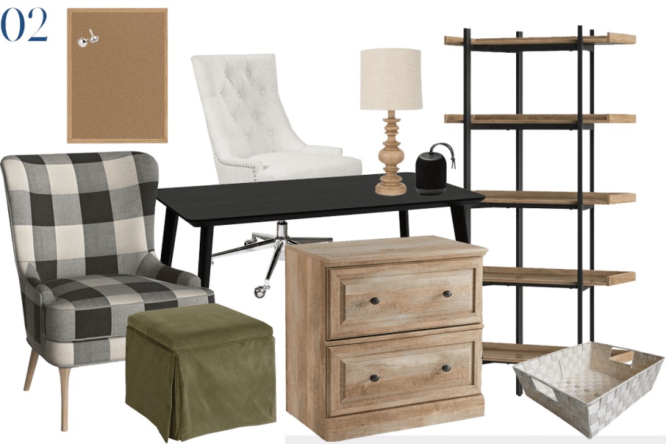 moodboard showing furniture for a home office with a black desk, weathered wood furniture a buffalo check armchair and a forest green velvet ottoman