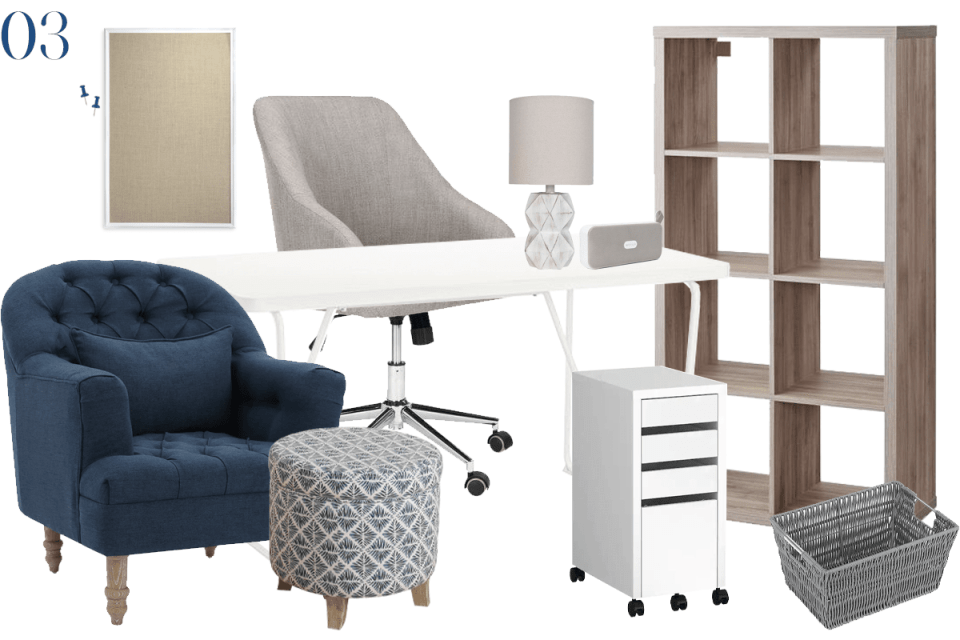 moodboard showing home office furniture with a grey wood bookcase, white desk, and navy blue tufted chair with blue patterned ottoman