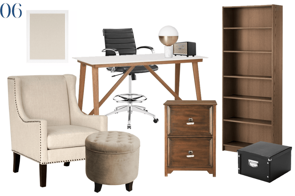 moodboard showing furnishing for a transitional office scheme with warm brown woods, ivory & tan upholstery and retro accents