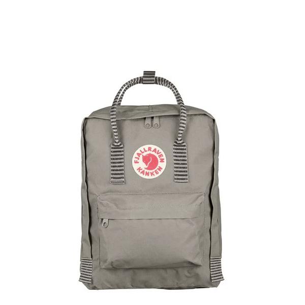image of fog striped kanken backpack from fjallraven