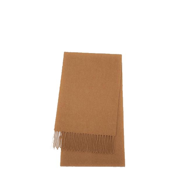 image of khaki cashmere scarf with modern fringe