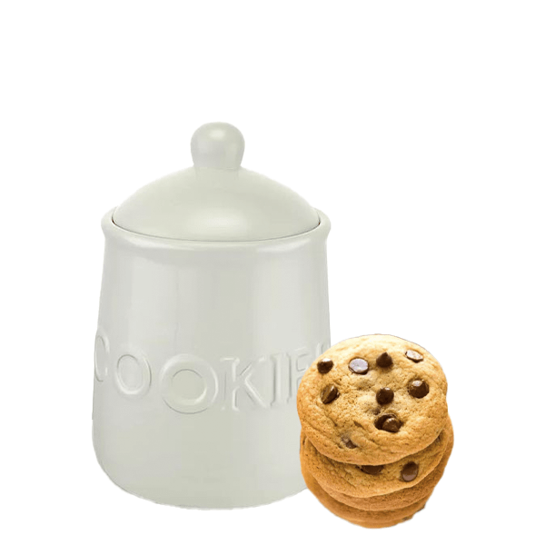 image of white cookies jar and stack of soft chocolate chip cookies