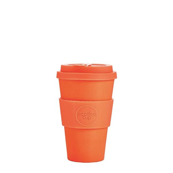 image of orange ecoffee reusable tumbler in bright orange