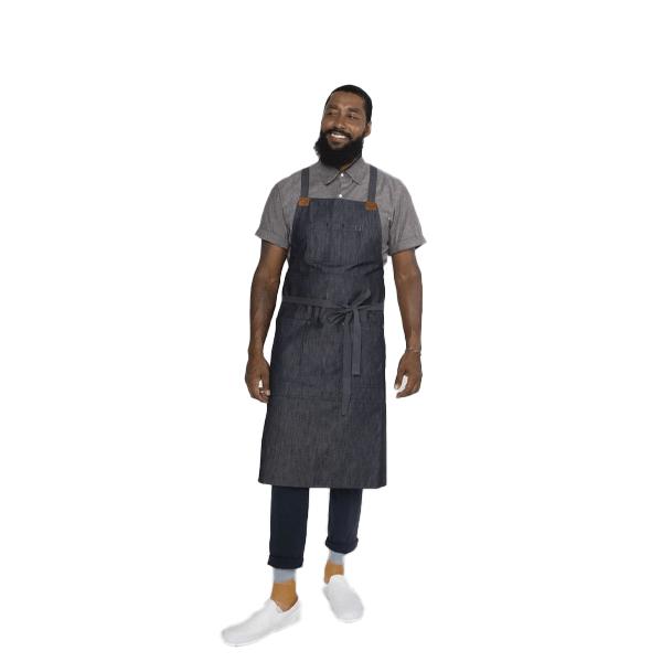 image of african american man wearing a denim apron
