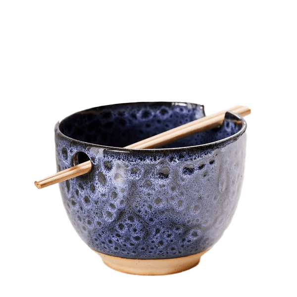 image of ceramic noodle bowl with chopstick rest