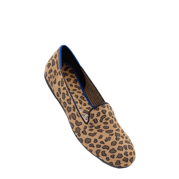 image of woven upper loafers with leopard pattern