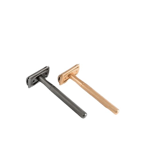 image of machined aluminum safety razor handles in matte black and matte gold