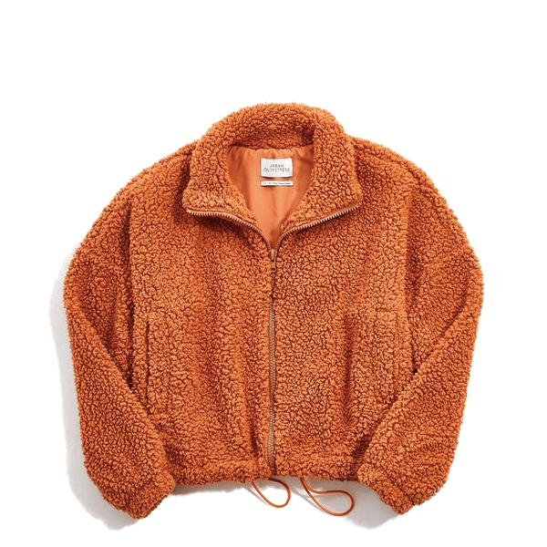 image of fuzzy drawstring teddy jacket in warm honey color
