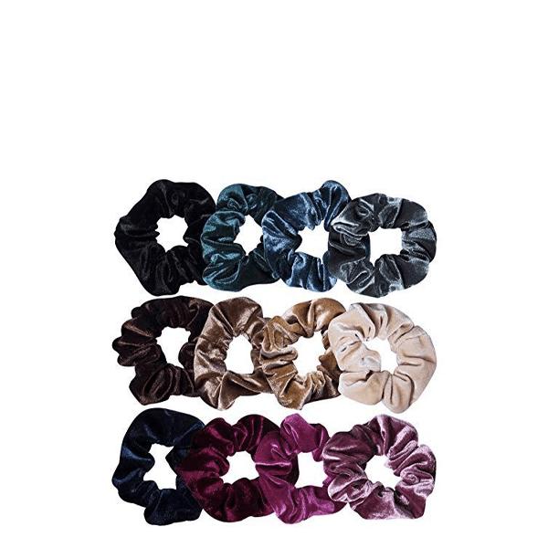 image of velvet scrunchies in muted jewel tones from dark to light