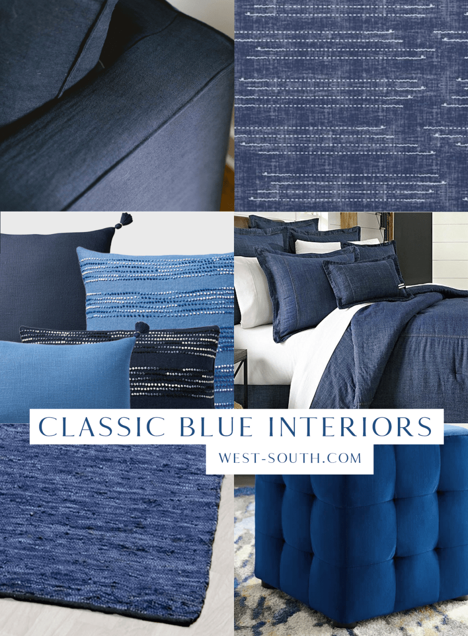 grid of 6 images showing pantone color of the year classic blue products for interior design furniture and accessories