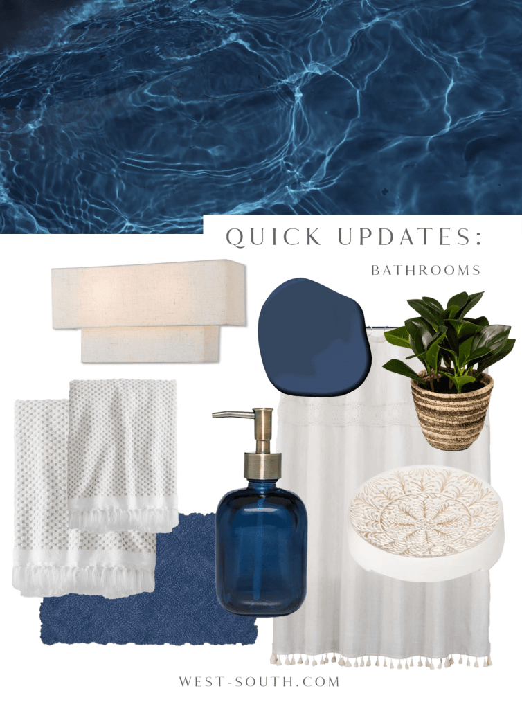 image of rental bathroom ideas that are textured and boho with deep water blue accents