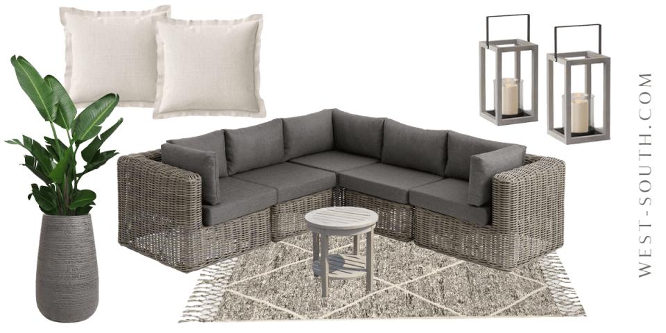 image of neutral patio lounge set up