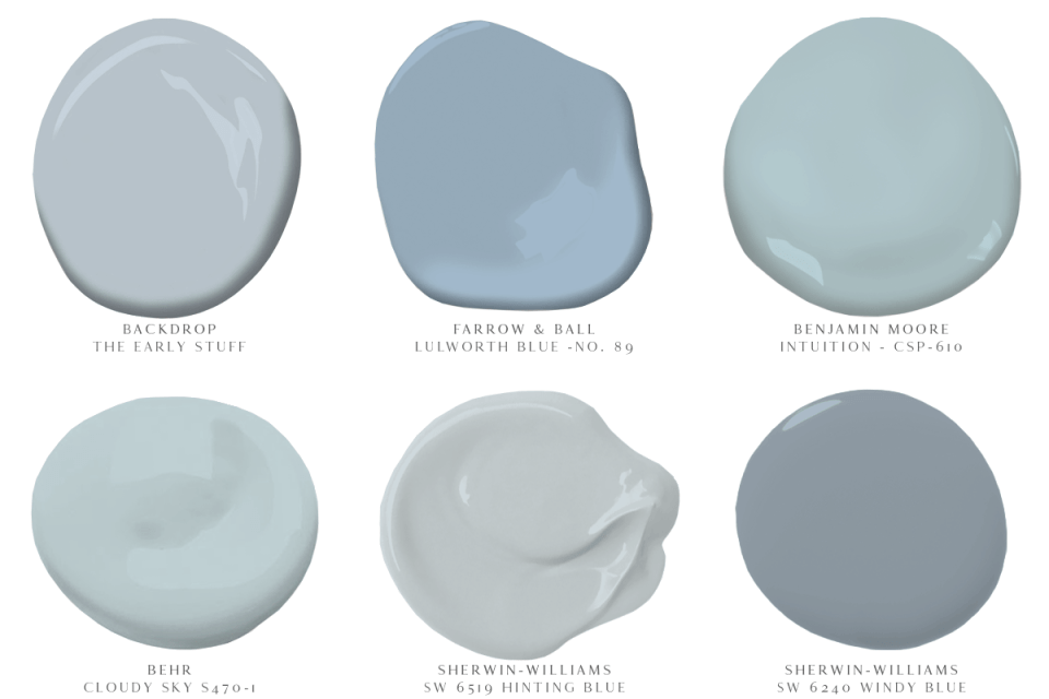 image of 6 paint colors backdrop the early stuff farrow and ball lulworth blue benjamin moore intuition behr cloudy sky sherwin williams hinting blue and windy blue