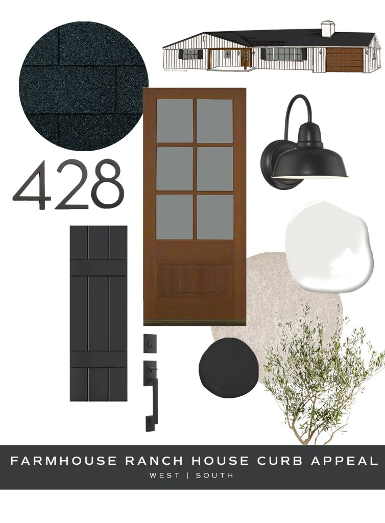 image showing curb appeal ideas for a farmhouse style ranch house
