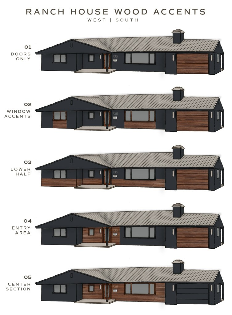 image showing wood siding placement ideas for a modern ranch house