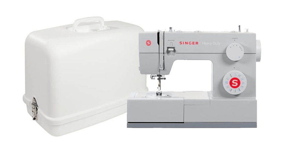 image of grey heavy duty singer sewing machine next to a white carrying case