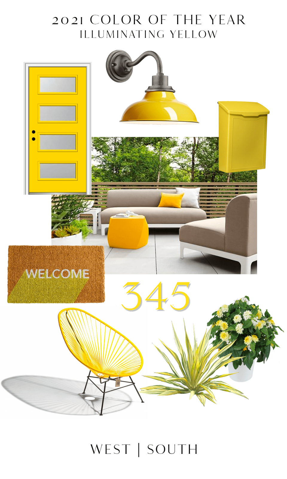 round up image showing vibrant yellow curb appeal and exterior items