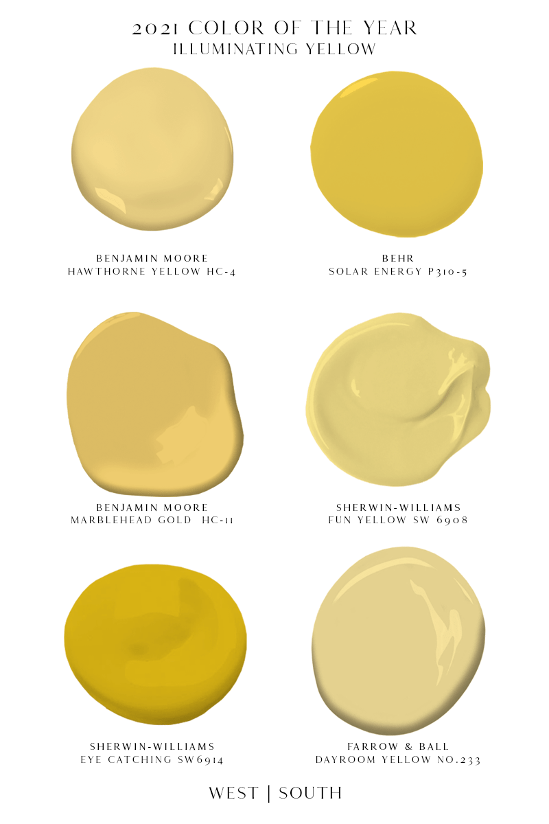 image showing paint samples of vibrant yellow paints benjamin moore hawthorne yellow, behr solar energy, benjamin morre marblehead gold, sherwin-williams fun yellow, sherwin-williams eye catching, and farrow and ball dayroom yellow