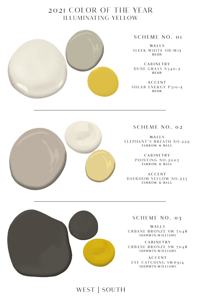 image showing 3 groups of paint samples; top is behr sleek white, dune grass and solar energy; middle is farrow and ball elephant's breathe, pointing, and dayroom yellow; bottom is sherwin-williams urbane bronze and eye catching.