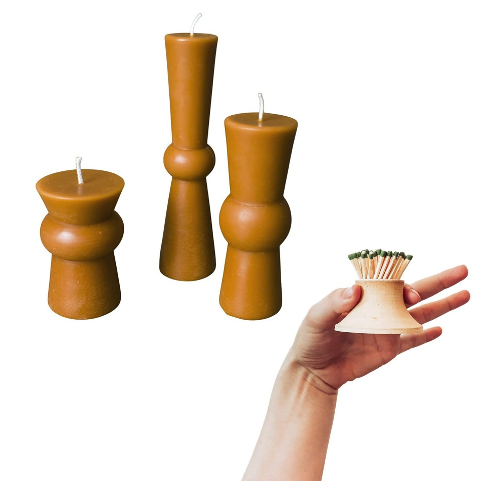 beeswax pillar candle with a ceramic hand thrown match holder