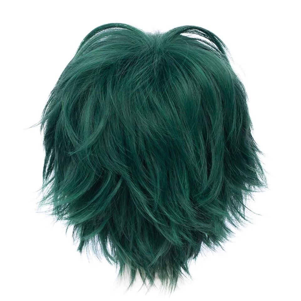 a short teal cosplay wig