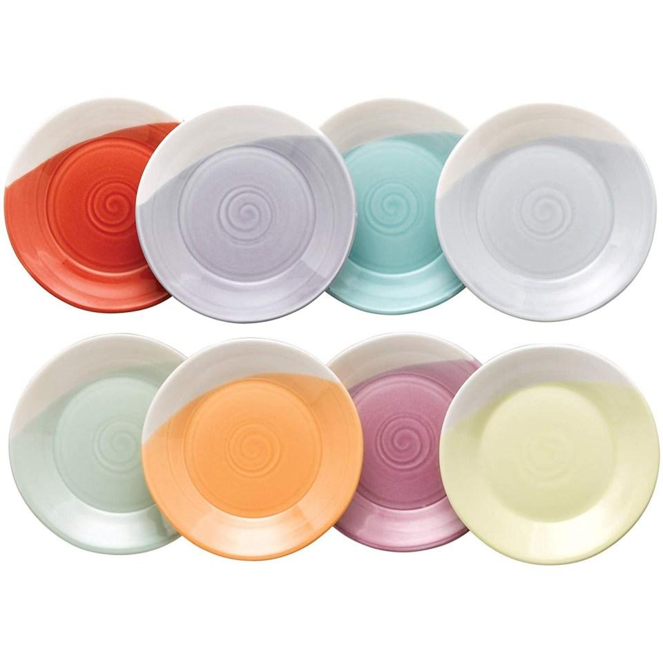multicolor tapas plates