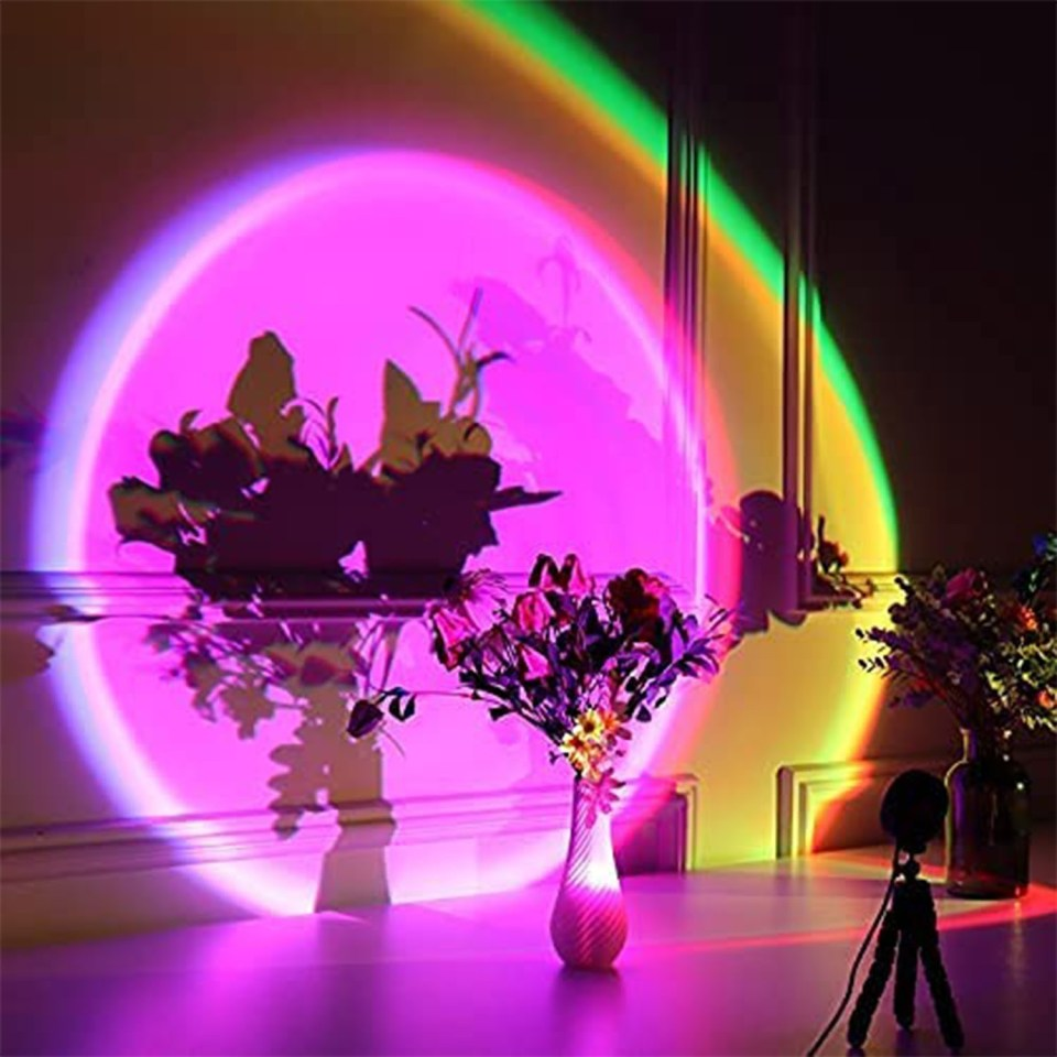 multi color LED lighting projected onto a vase of flowers onto a wall