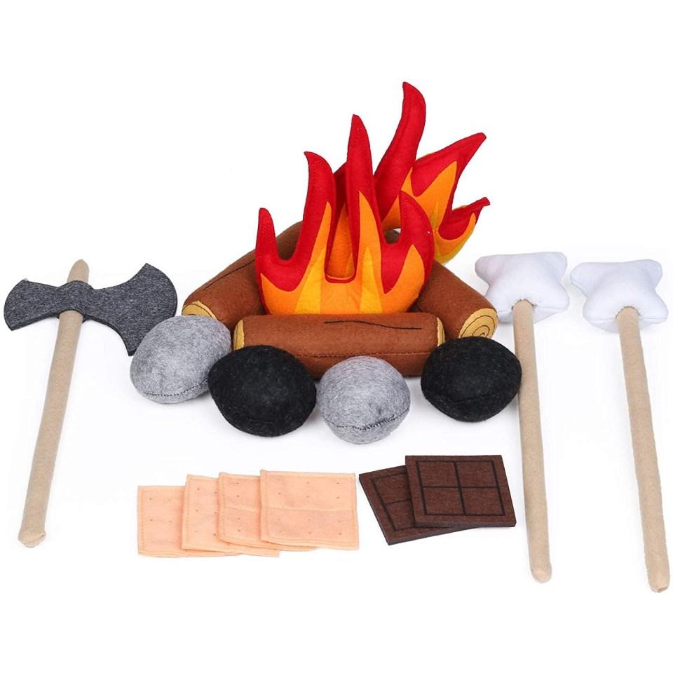 a campfire play set made from felt