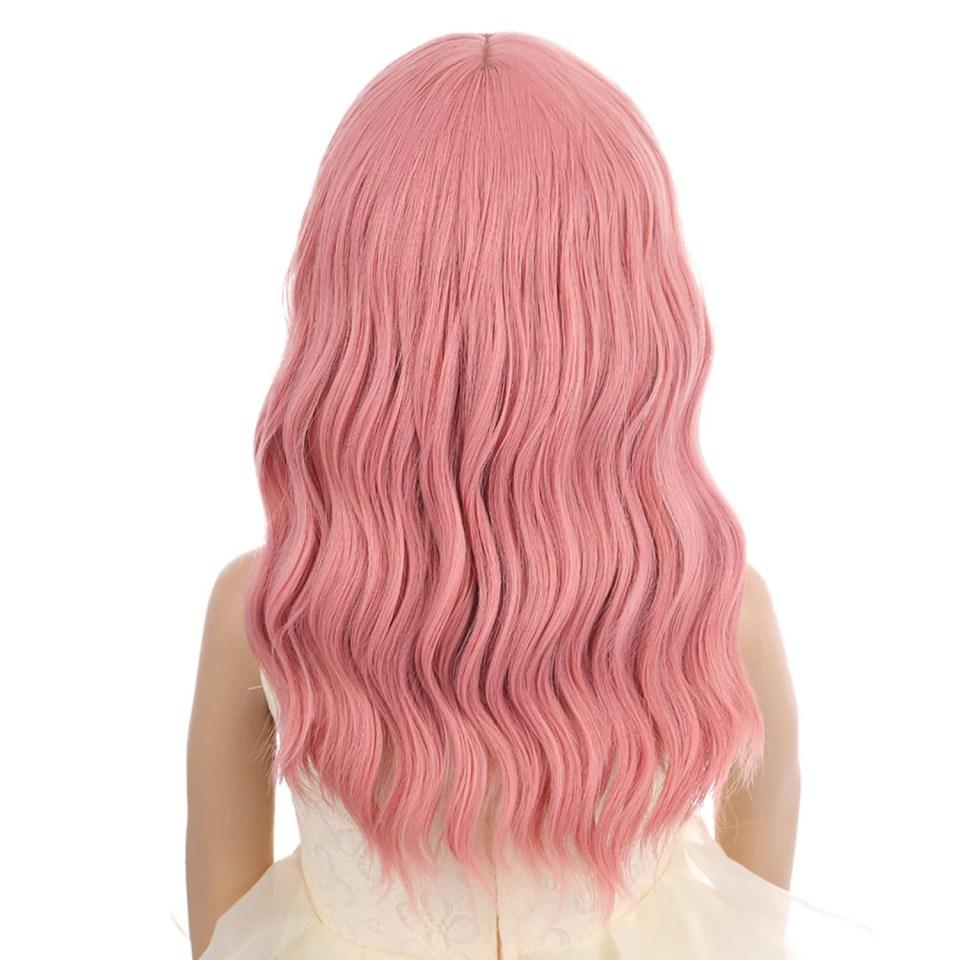 a pink wavy kids wig