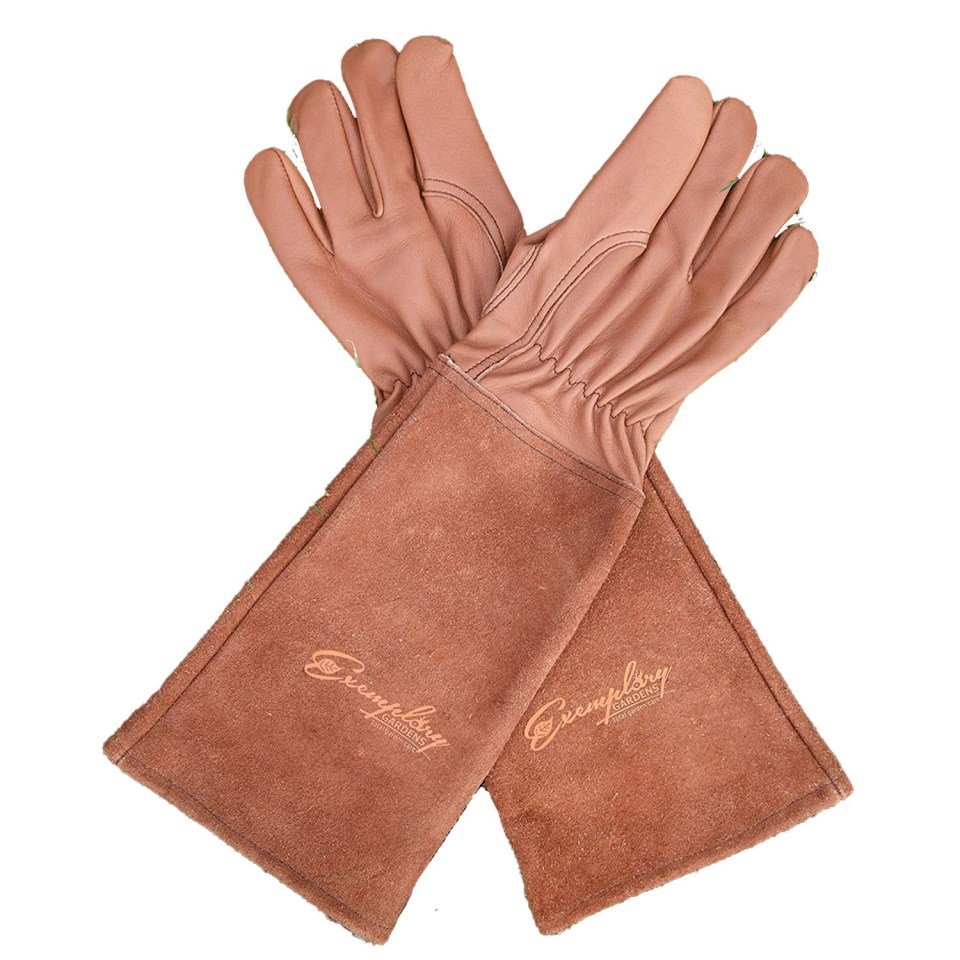 cognac leather thorn proof gardening gloves