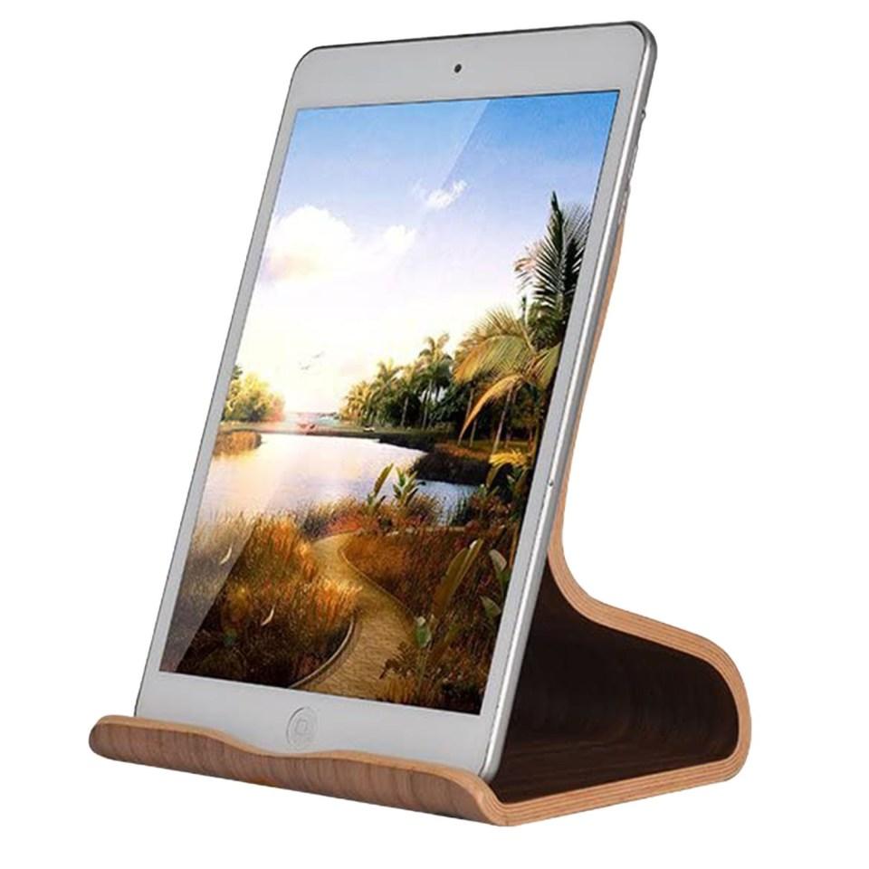bent walnut wood tablet ipad stand