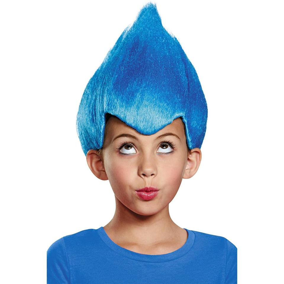 child in a blue wig