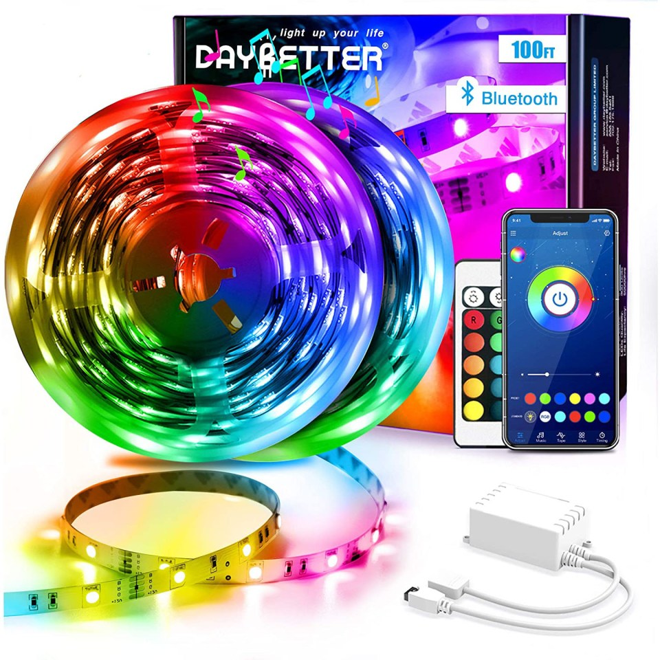 ring of LED strip lights in rainbow colors