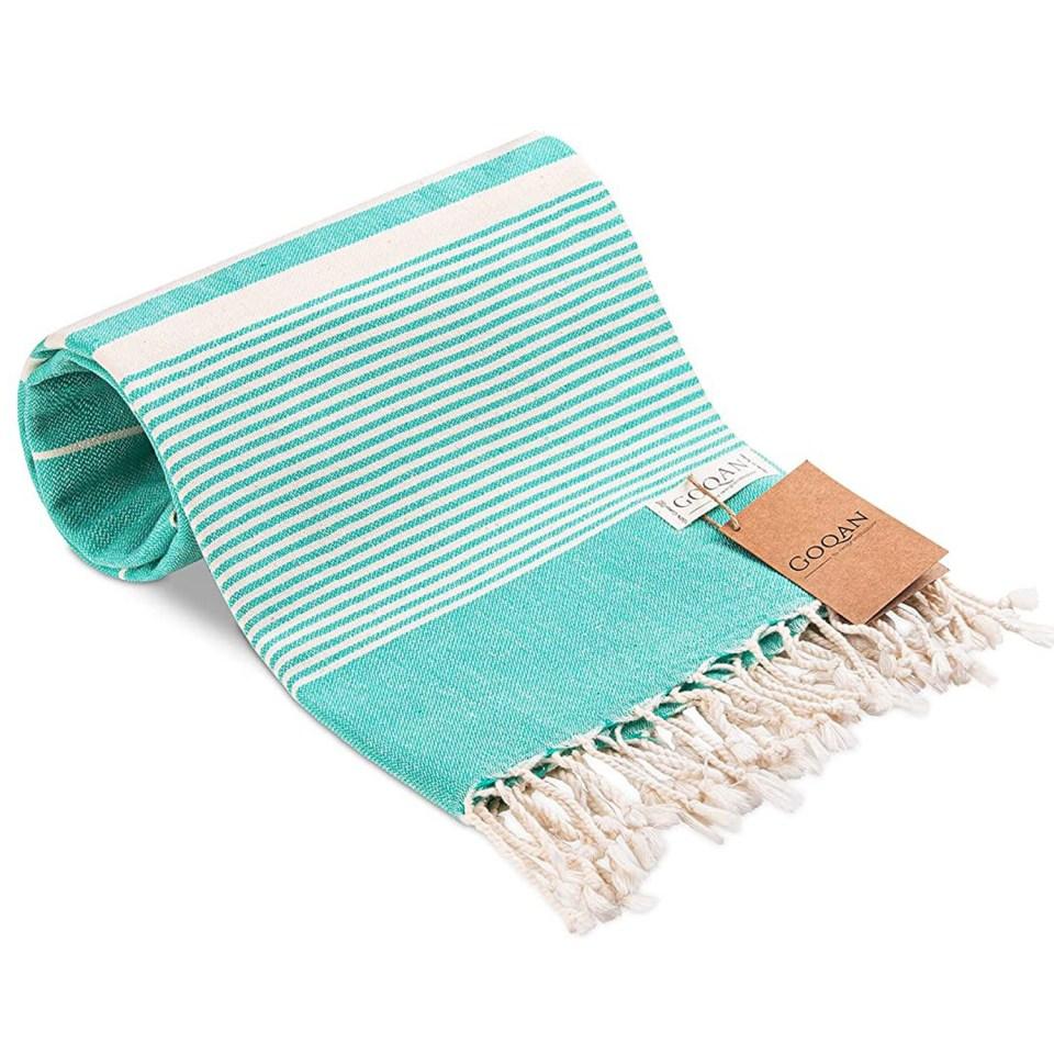 aqua green turkish beach towel peshtemal