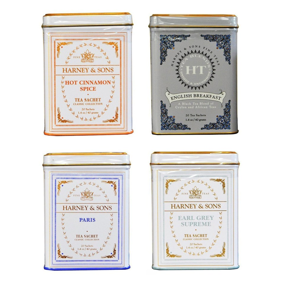 4 cans of harney and sons tea sachets in decorative tins