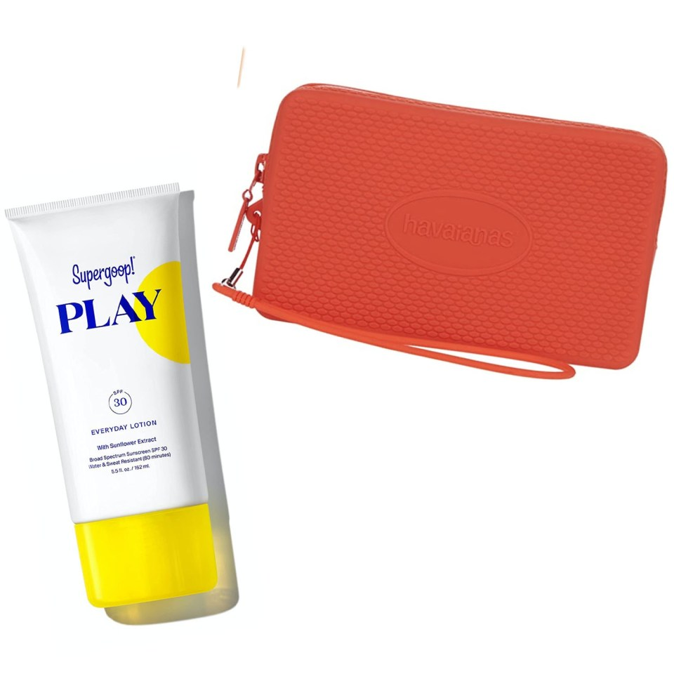 Supergoop Play Sunscreen and Havaianas Clutch Purse