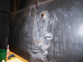 Slate shower before cleaning Churt