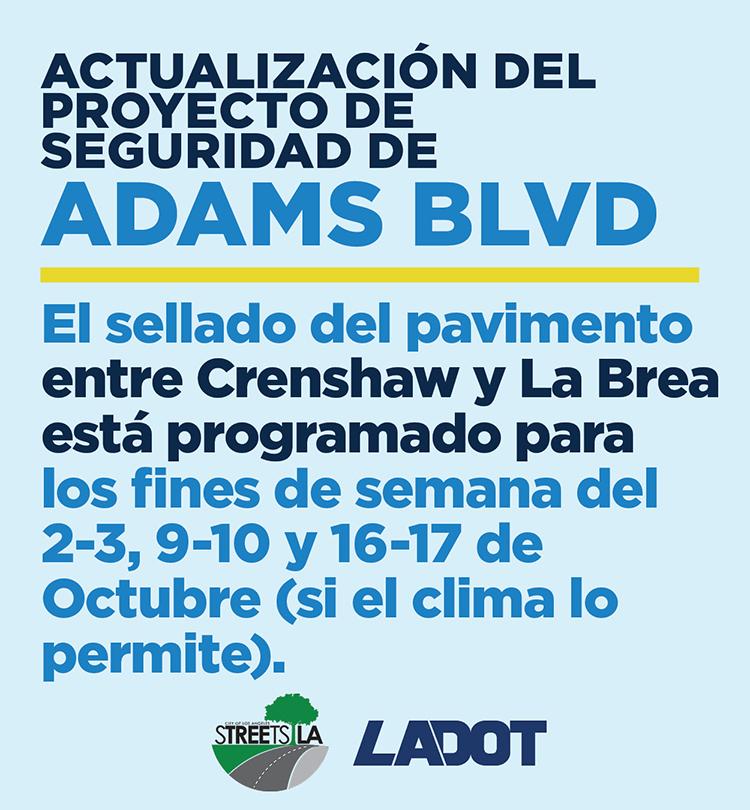 Adams Blvd Work Notice, Spanish version
