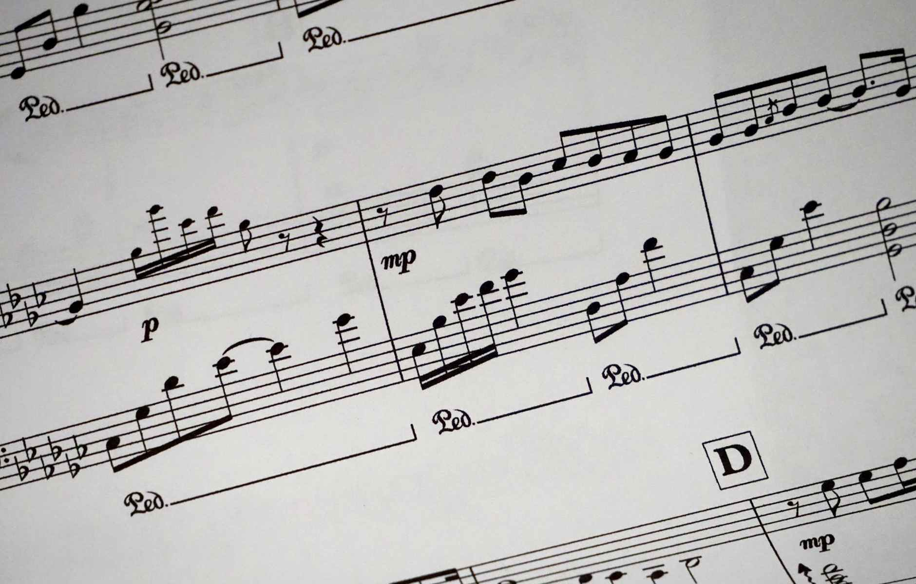 music sheet showing musical notes