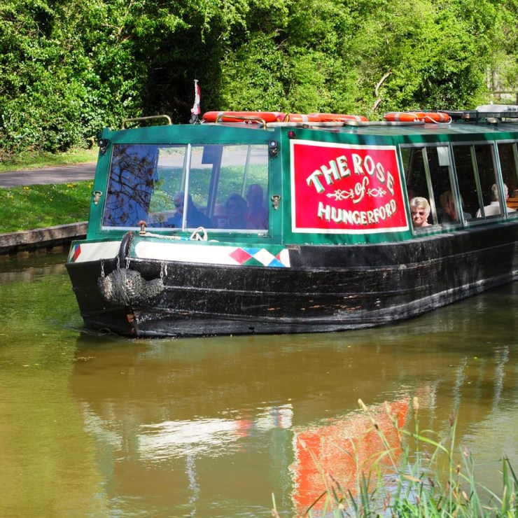 The Rose of Hungerford passenger barge on the Kennett and Avon canal.