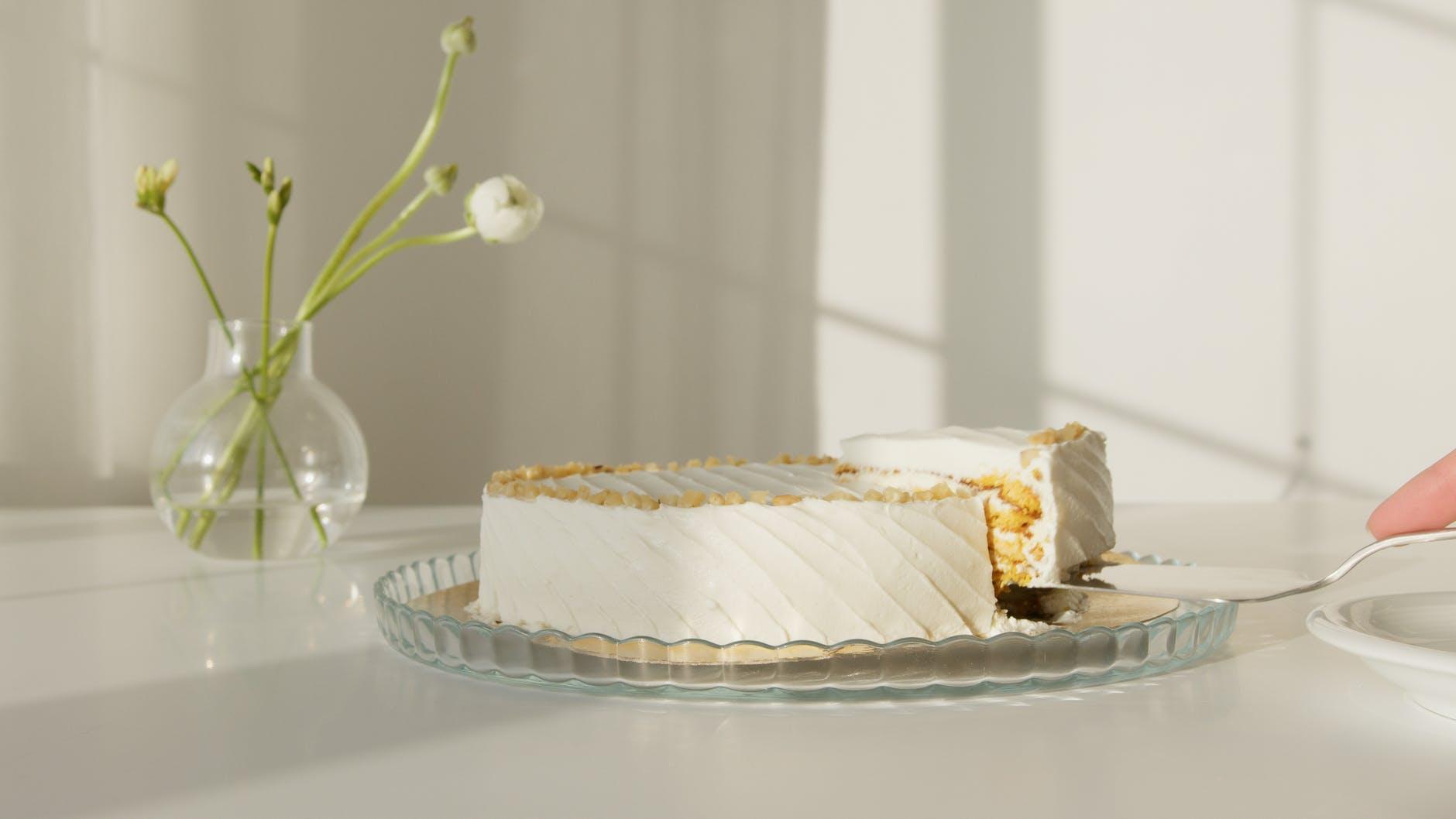 white cake on white ceramic plate
