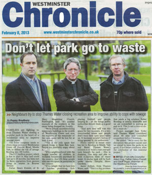 Front page of the Westminster Chronicle 8th February 2013